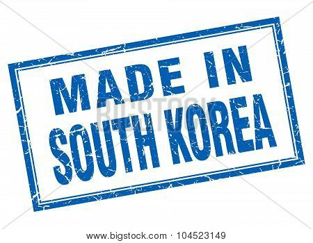 South Korea Blue Square Grunge Made In Stamp