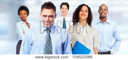 Young attractive business woman and workers team banner.