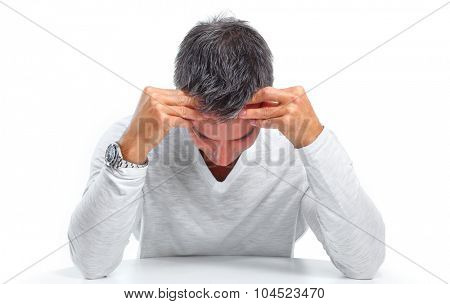 Man having stress and headache migraine. Health care concept.