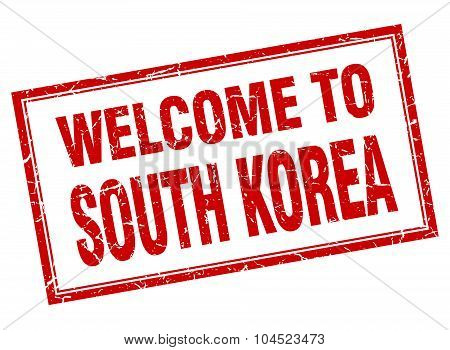 South Korea Red Square Grunge Welcome Isolated Stamp