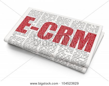 Finance concept: E-CRM on Newspaper background