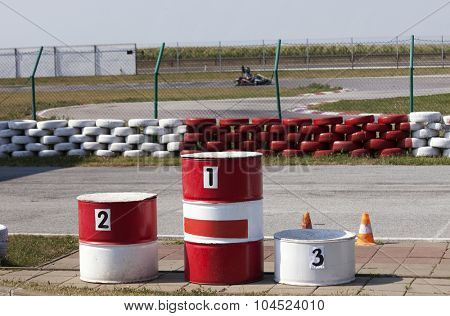 podium for winners at the karting track