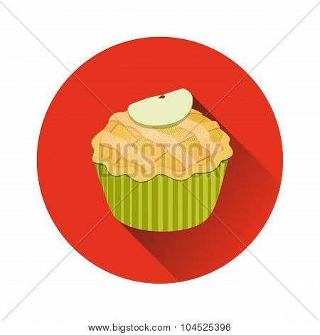 Vector Apple Pie Cupcake with a slice of apple round icon featuring long shadow