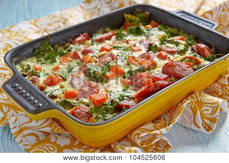 Autumn casserole with sweet potato and kale