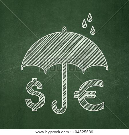 Privacy concept: Money And Umbrella on chalkboard background