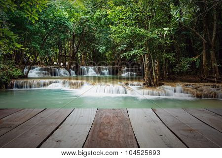Waterfall  Huay Mae Kamin With Wooden Board