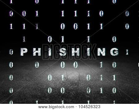 Privacy concept: Phishing in grunge dark room