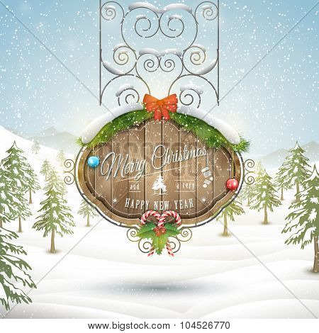 Decorated Christmas board vector illustration.