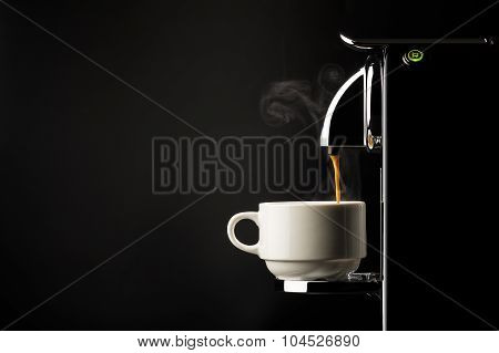 Preparing A Cup Of Espresso Coffee