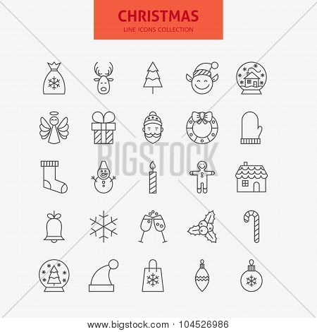 Line Christmas New Year Icons Big Set