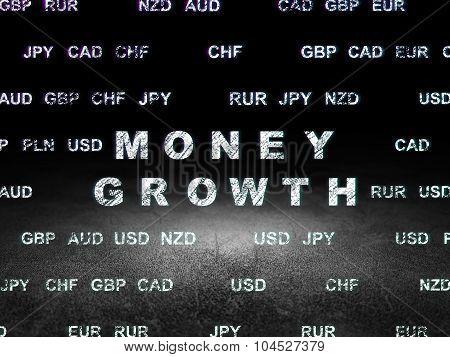 Currency concept: Money Growth in grunge dark room