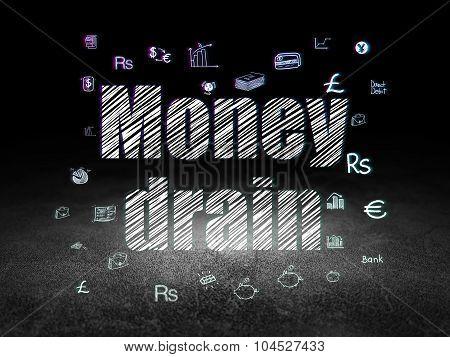 Money concept: Money Drain in grunge dark room