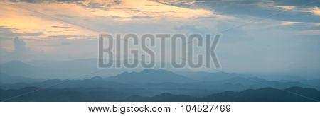 Beautiful sunset the mountains landscape
