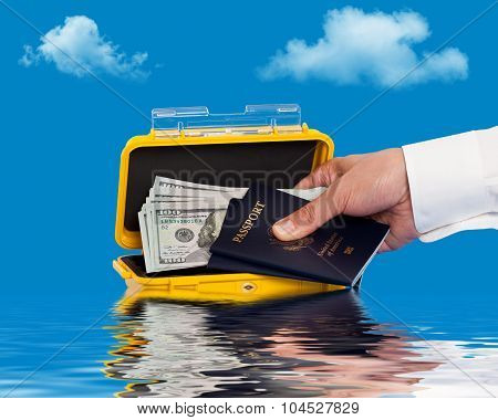 Person retrieving goods from a water resistant case
