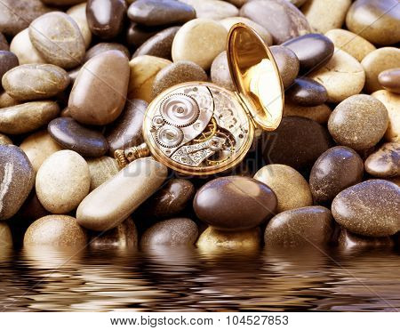 Pocket watch laying over stones by the water