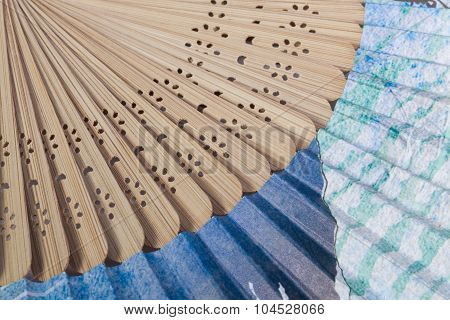 Typical Japanese Hand Fan Made Of Bamboo