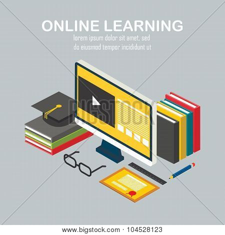 Isometric vector linear illustration of e-learning
