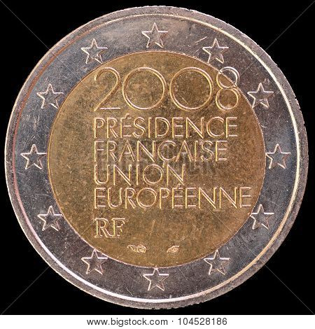 Commemorative Two Euro Coin Issued By France In 2008 For The French Presidency Of The European Union