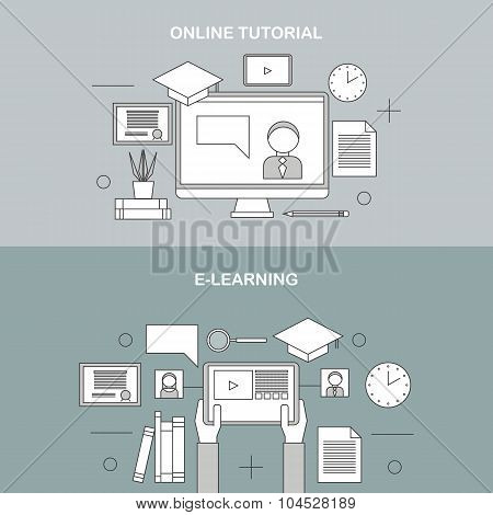 Flat vector linear illustration of e-learning