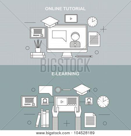 Flat vector linear illustration of e-learning