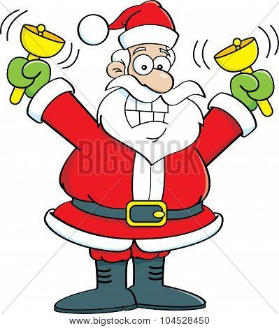Cartoon Santa Claus ringing bells.