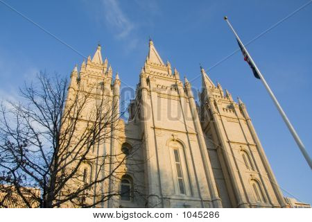 Salt Lake Temple West Side Closeup At Dusk