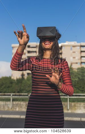Beautiful Young Woman Wearing Virtual Reality Headset