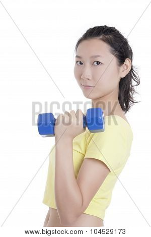 Asian Woman Working Out Using Dumbbell Weights Isolated On White Background