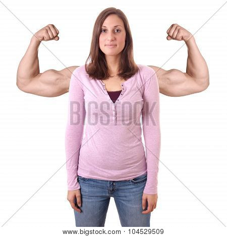 young woman with superimposed muscles