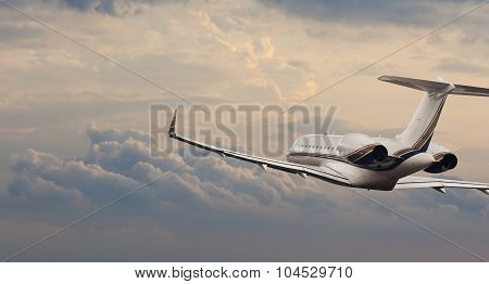 Private jet in flight