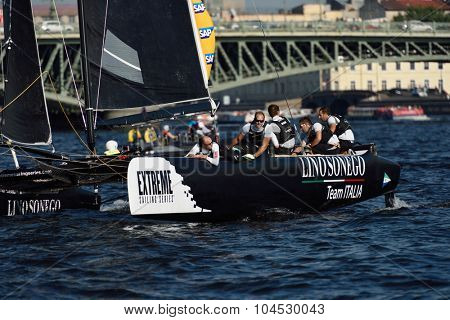 ST. PETERSBURG, RUSSIA - AUGUST 22, 2015: Catamaran of Lino Sonego Team Italia of Italy during 3rd day of St. Petersburg stage of Extreme Sailing Series. The Wave, Muscat team leading after 2 days