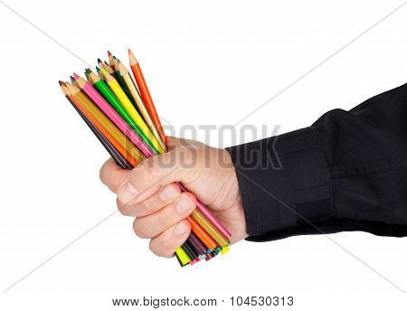 Man holding lots of coloring pencils