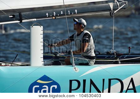 ST. PETERSBURG, RUSSIA - AUGUST 22, 2015: Australian James Wierzbowski on the catamaran of GAC Pindar sailing team from United Kingdom during 3rd day of St. Petersburg stage of Extreme Sailing Series