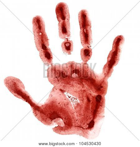 Dark red watercolor hand print isolated on white background, raster illustration