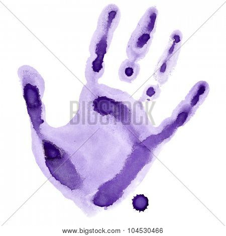 Purple watercolor hand print isolated on white background, raster illustration