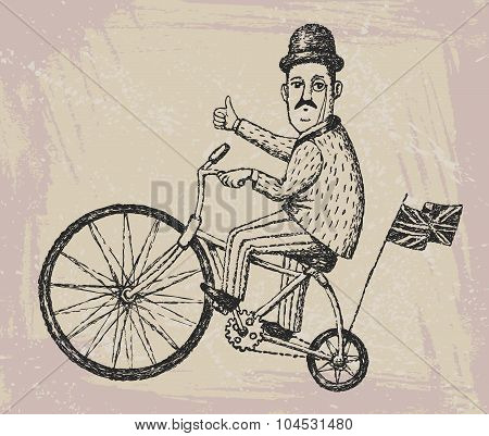 Gentleman  On A Bicycle
