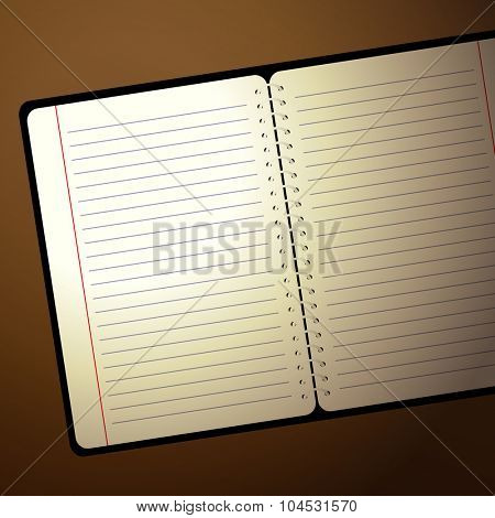 Notebook with lamp light