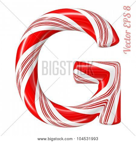 Mint hard candy cane vector alphabet collection striped in Christmas colours. Letter G. Eps 8 using mesh.