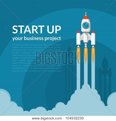 Space rocket launch. Business start up concept