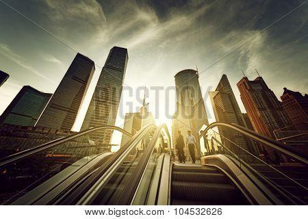 escalator in Shanghai lujiazui financial center, China