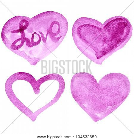 Set of pink watercolor hearts isolated on the white background