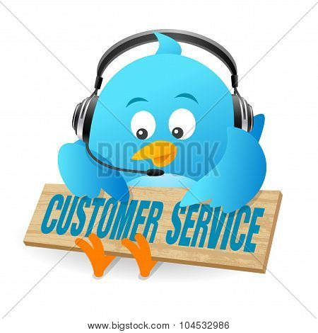 Blue Bird Customer Service Sign