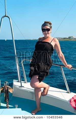 Youn Woman On Yacht Board