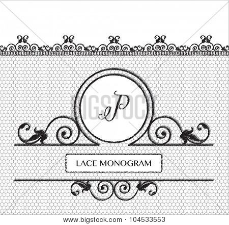 Letter P black lace monogram, stitched on seamless tulle background with antique style floral border.