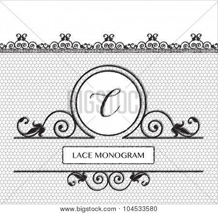 Letter C black lace monogram, stitched on seamless tulle background with antique style floral border.