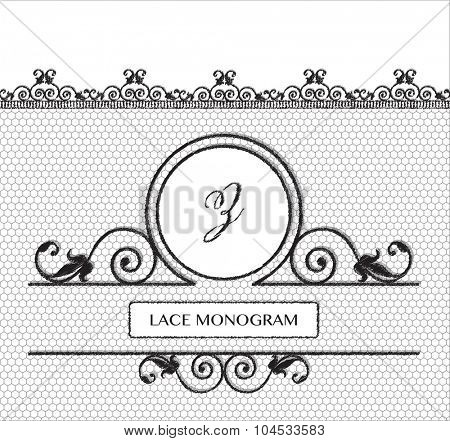 Letter Z black lace monogram, stitched on seamless tulle background with antique style floral border.