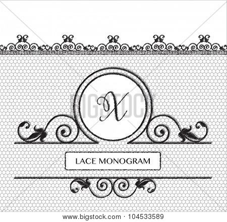 Letter X black lace monogram, stitched on seamless tulle background with antique style floral border.