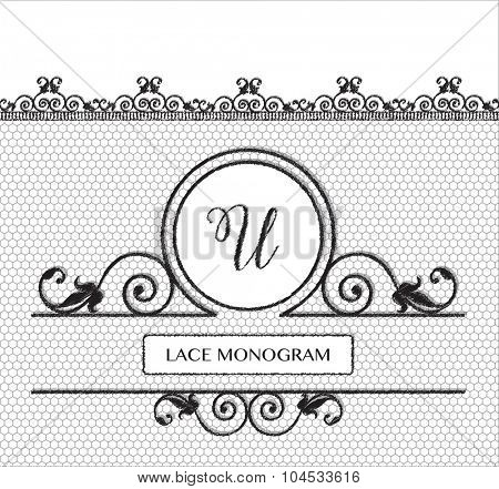 Letter U black lace monogram, stitched on seamless tulle background with antique style floral border.