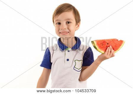 happy boy with watermelon in hand isolated on white
