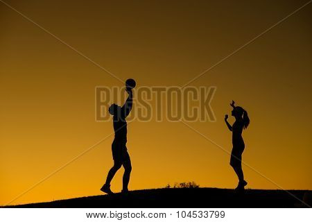 Silhouette figure of volleyball players.